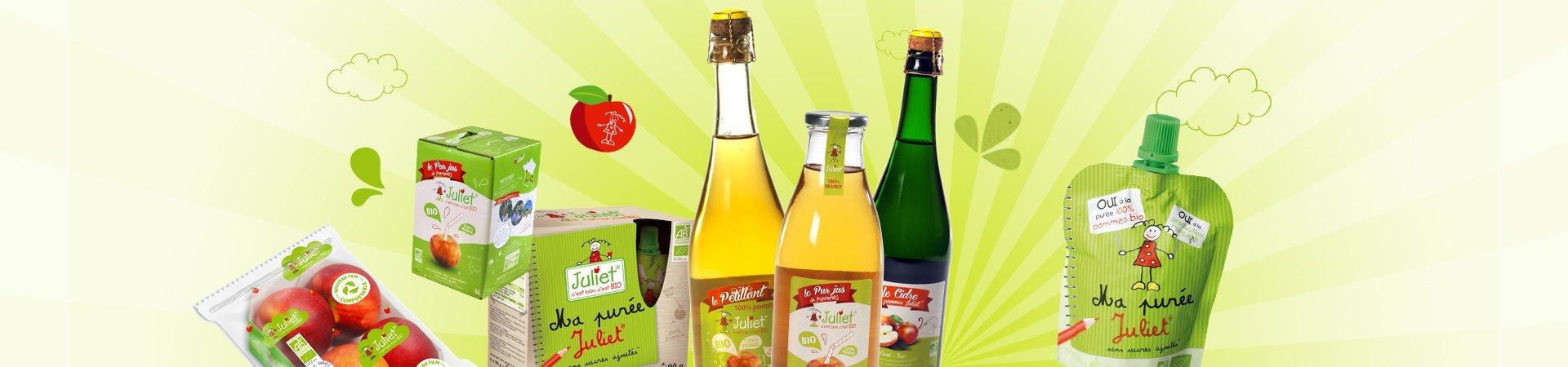 La gamme Pomme Juliet® : pur jus, cidres, compotes, pétillant… c'est bon, c'est BIO !